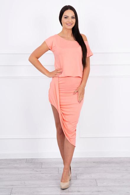 d697ac364451 Asymetrické šaty marhuľové