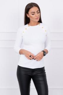 4c579e75a260 Dámske tričko s ozdobnými gombičkami biele empty
