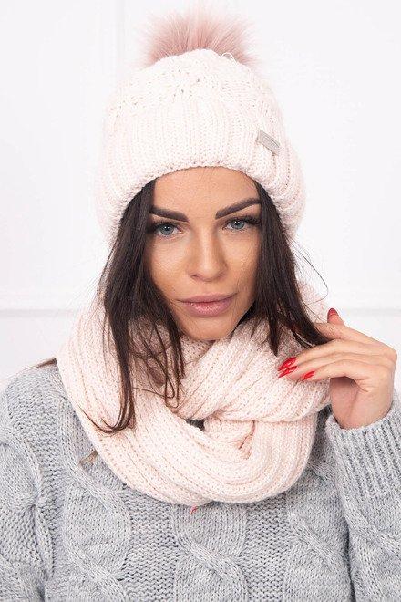 69bb36b23 Púdrovo ružový pletený šál a čiapka dámska