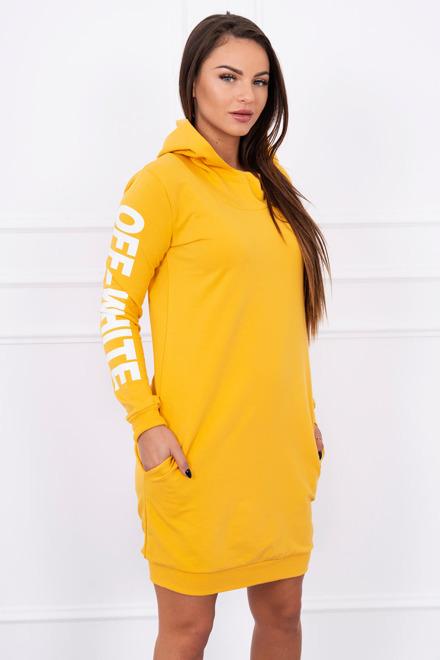 e56633bc32f2 Športové šaty s kapucňou horčicové